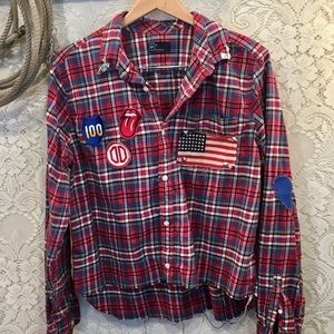 Distressed Vintage Flannel with Patches unisex L